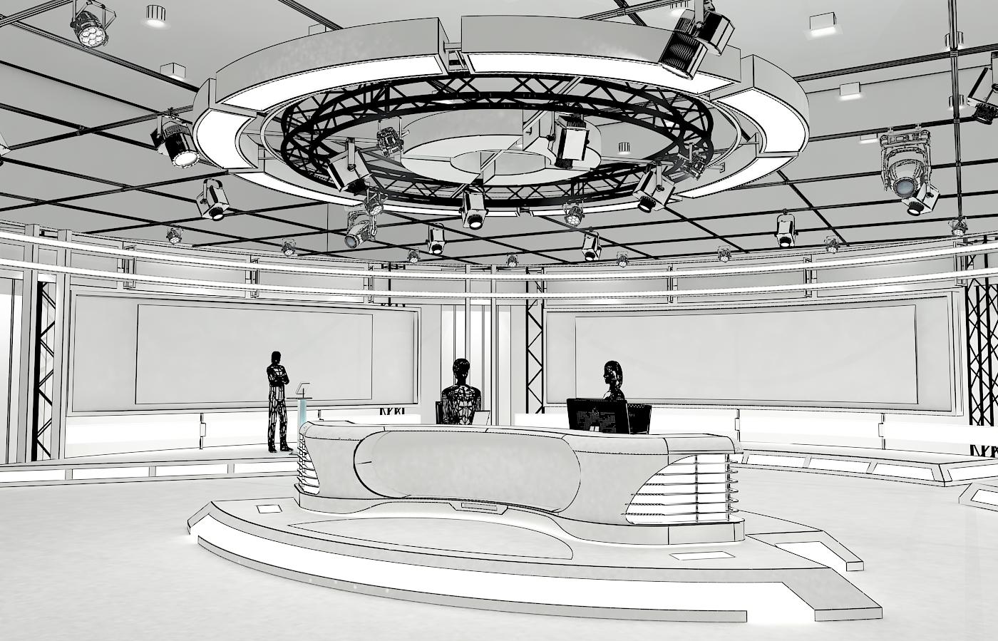 виртуал телевизийн студи мэдээ багц 1 3d загвар max dxf fbx c4d obj 223289