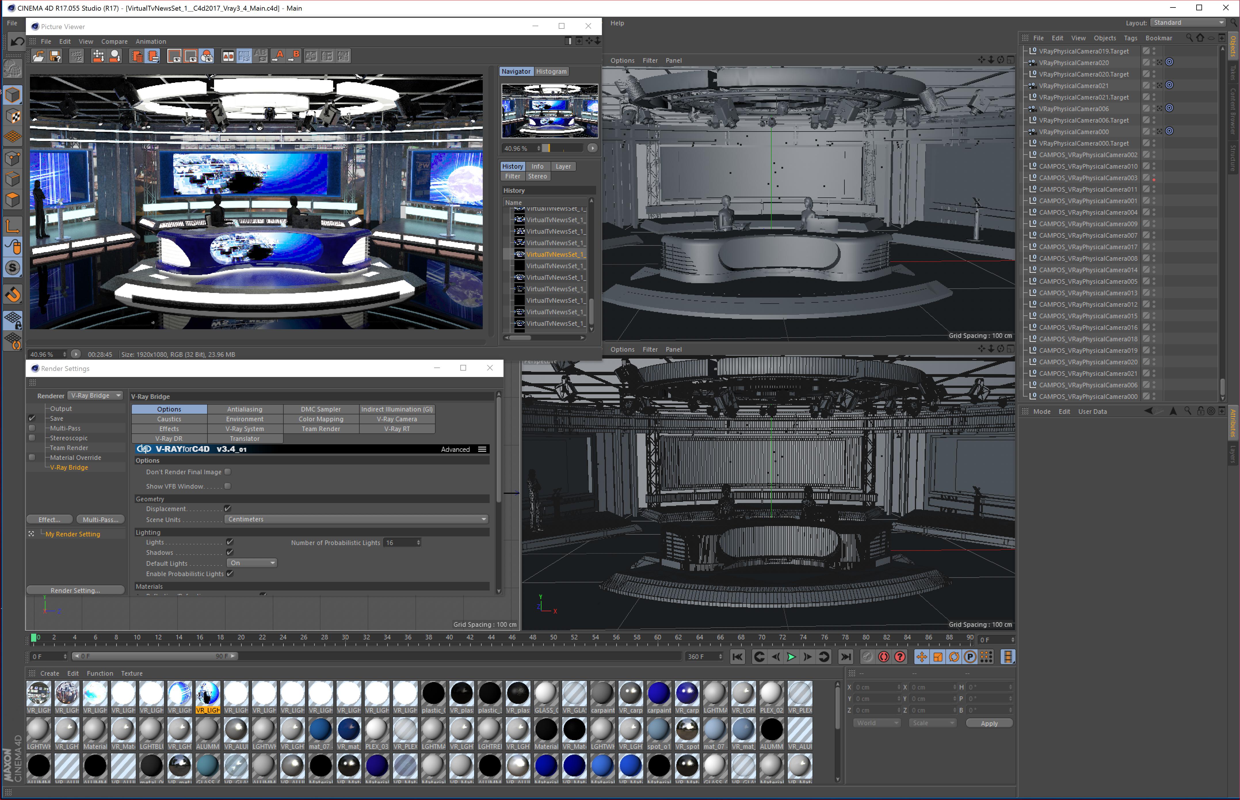 виртуал телевизийн студи мэдээ багц 1 3d загвар max dxf fbx c4d obj 223291