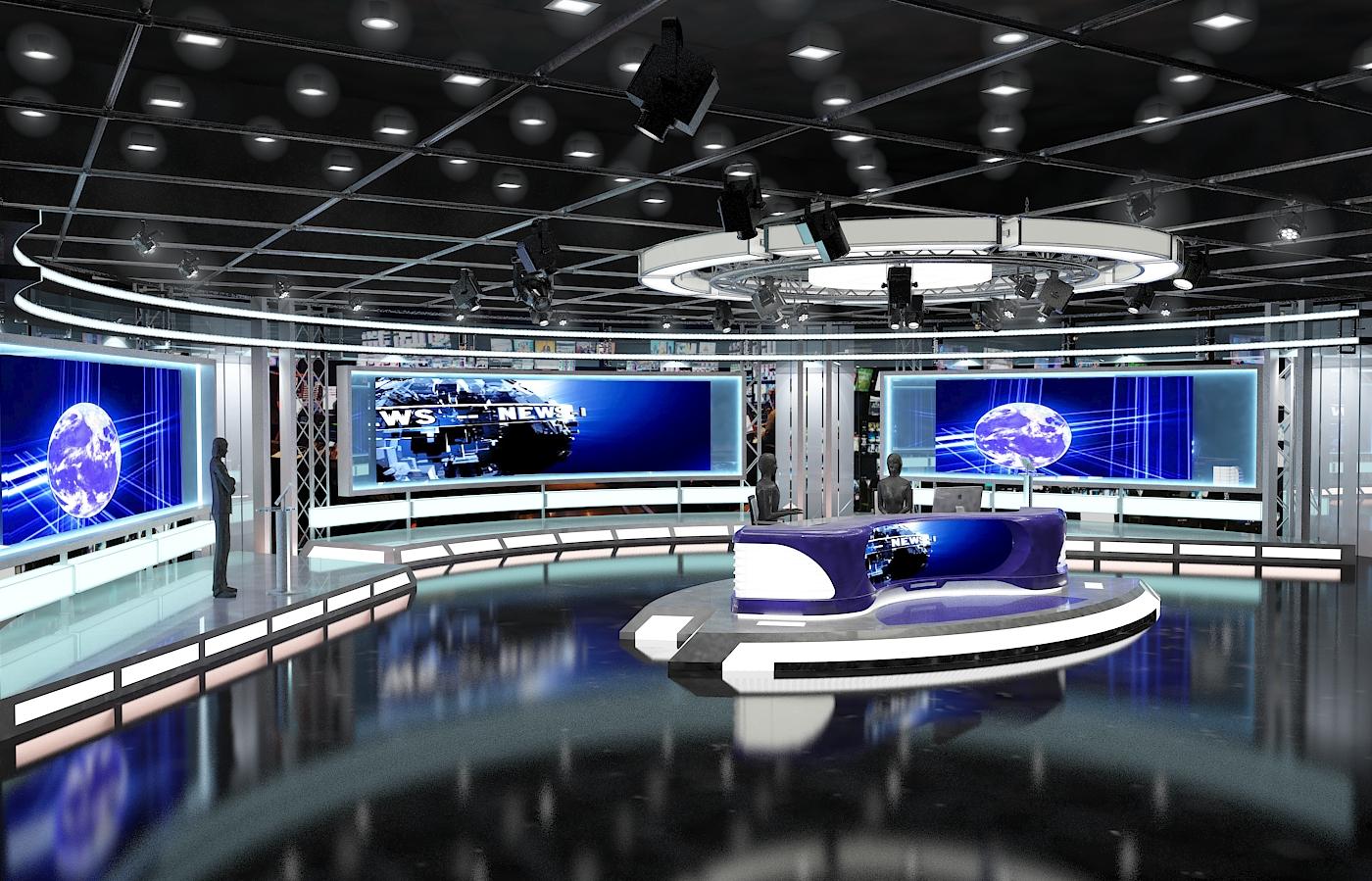 виртуал телевизийн студи мэдээ багц 1 3d загвар max dxf fbx c4d obj 223292