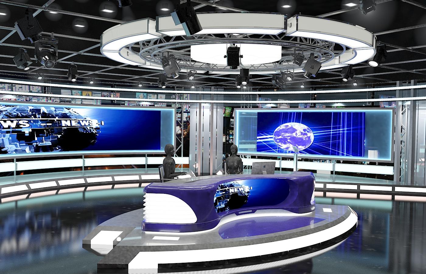 виртуал телевизийн студи мэдээ багц 1 3d загвар max dxf fbx c4d obj 223294