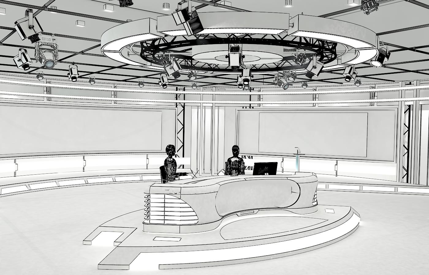 виртуал телевизийн студи мэдээ багц 1 3d загвар max dxf fbx c4d obj 223295