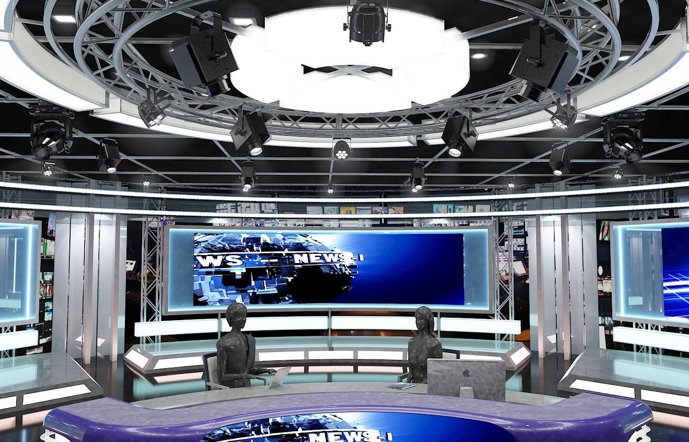 виртуал телевизийн студи мэдээ багц 1 3d загвар max dxf fbx c4d obj 223296
