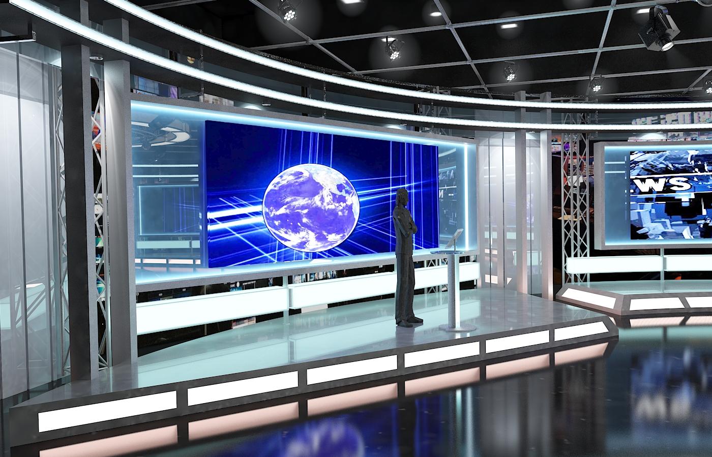 виртуал телевизийн студи мэдээ багц 1 3d загвар max dxf fbx c4d obj 223298