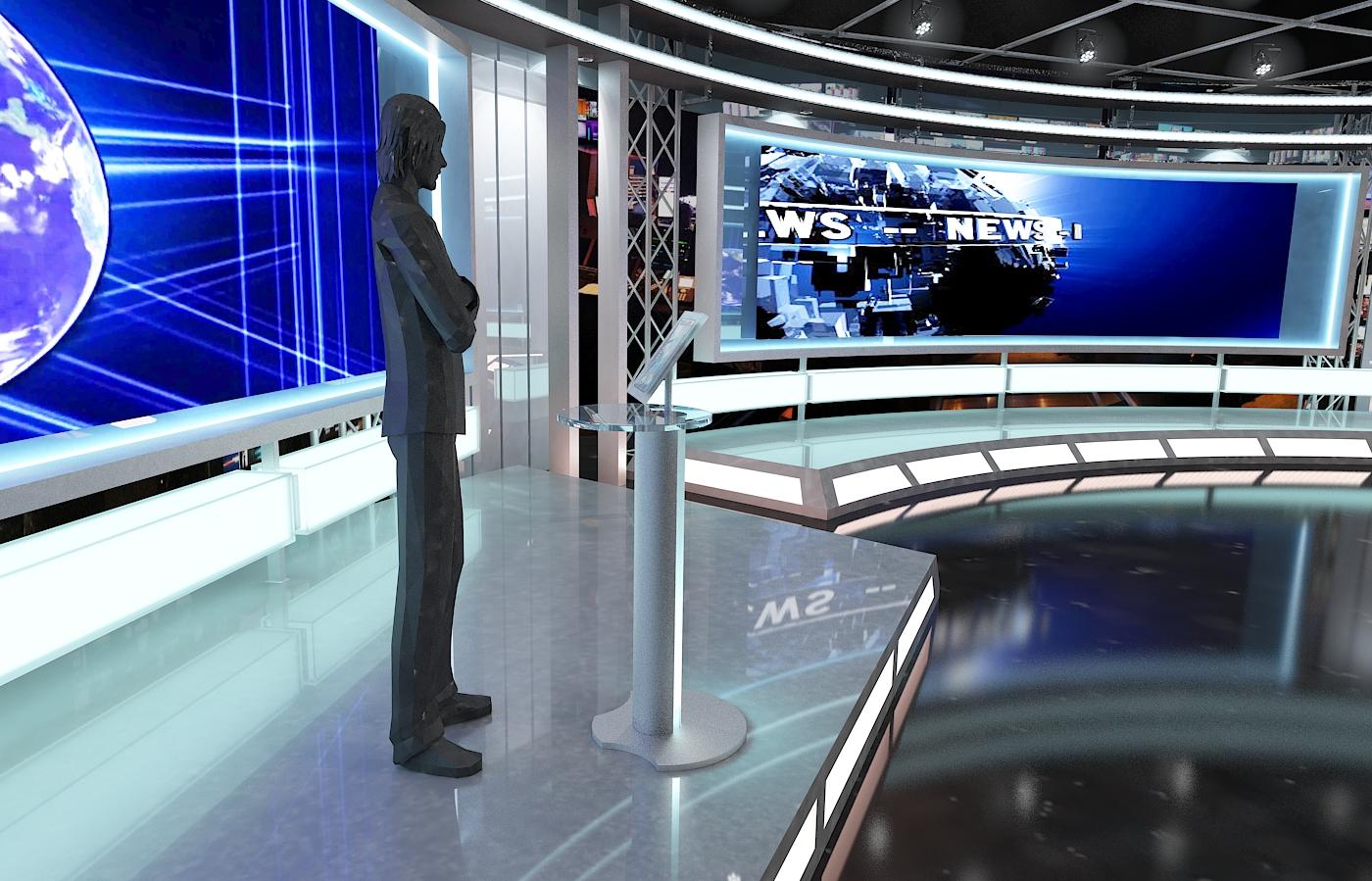 виртуал телевизийн студи мэдээ багц 1 3d загвар max dxf fbx c4d obj 223300