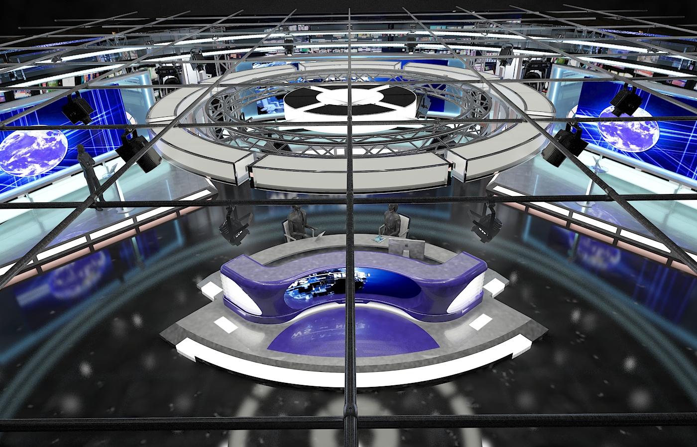 виртуал телевизийн студи мэдээ багц 1 3d загвар max dxf fbx c4d obj 223301