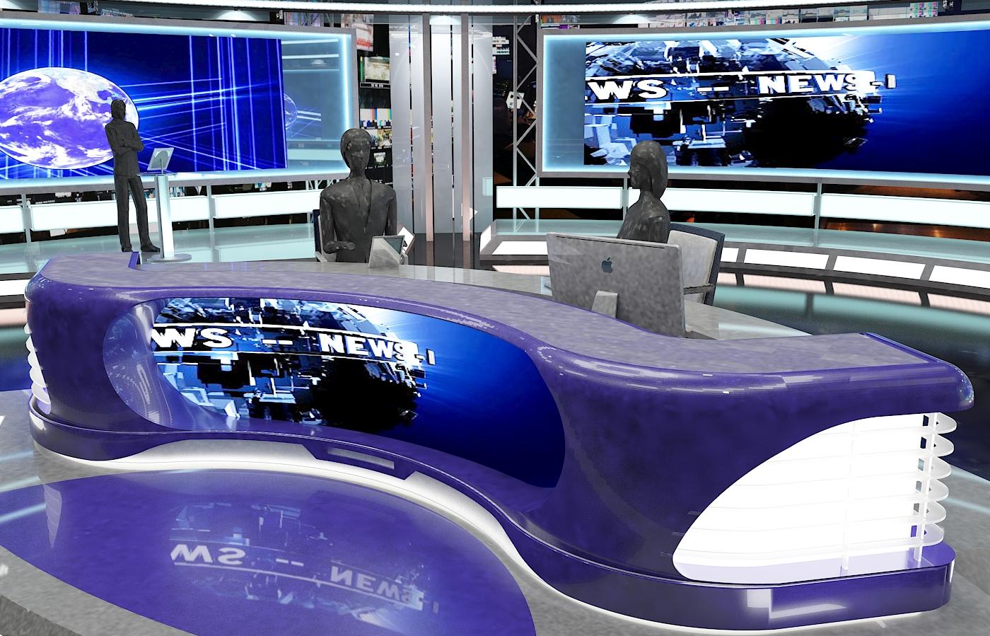 виртуал телевизийн студи мэдээ багц 1 3d загвар max dxf fbx c4d obj 223305