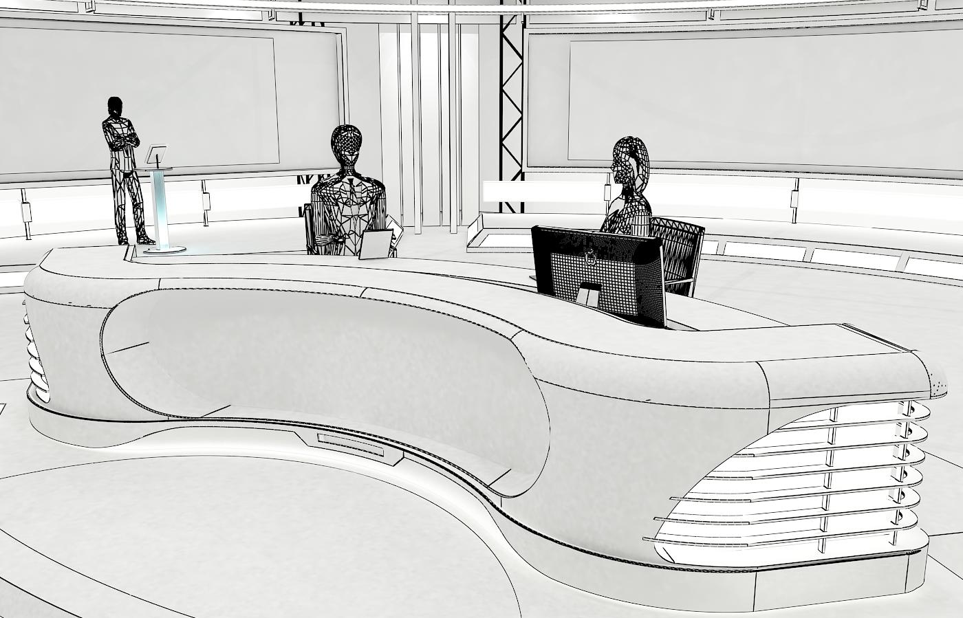 виртуал телевизийн студи мэдээ багц 1 3d загвар max dxf fbx c4d obj 223306