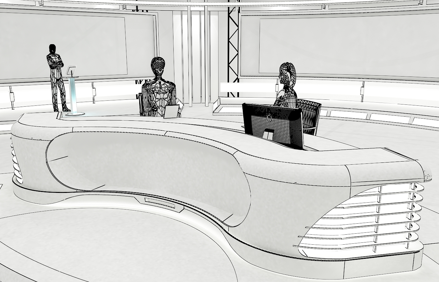 виртуал телевизийн студи цуглуулга vol 6 3d загвар max dxf dwg fbx obj 223380