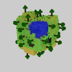 World Cube Lowpoly 3d model 0