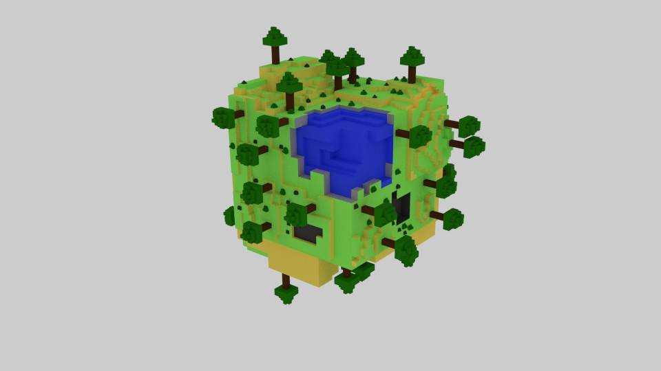 World Cube Lowpoly 3d model blend 223417
