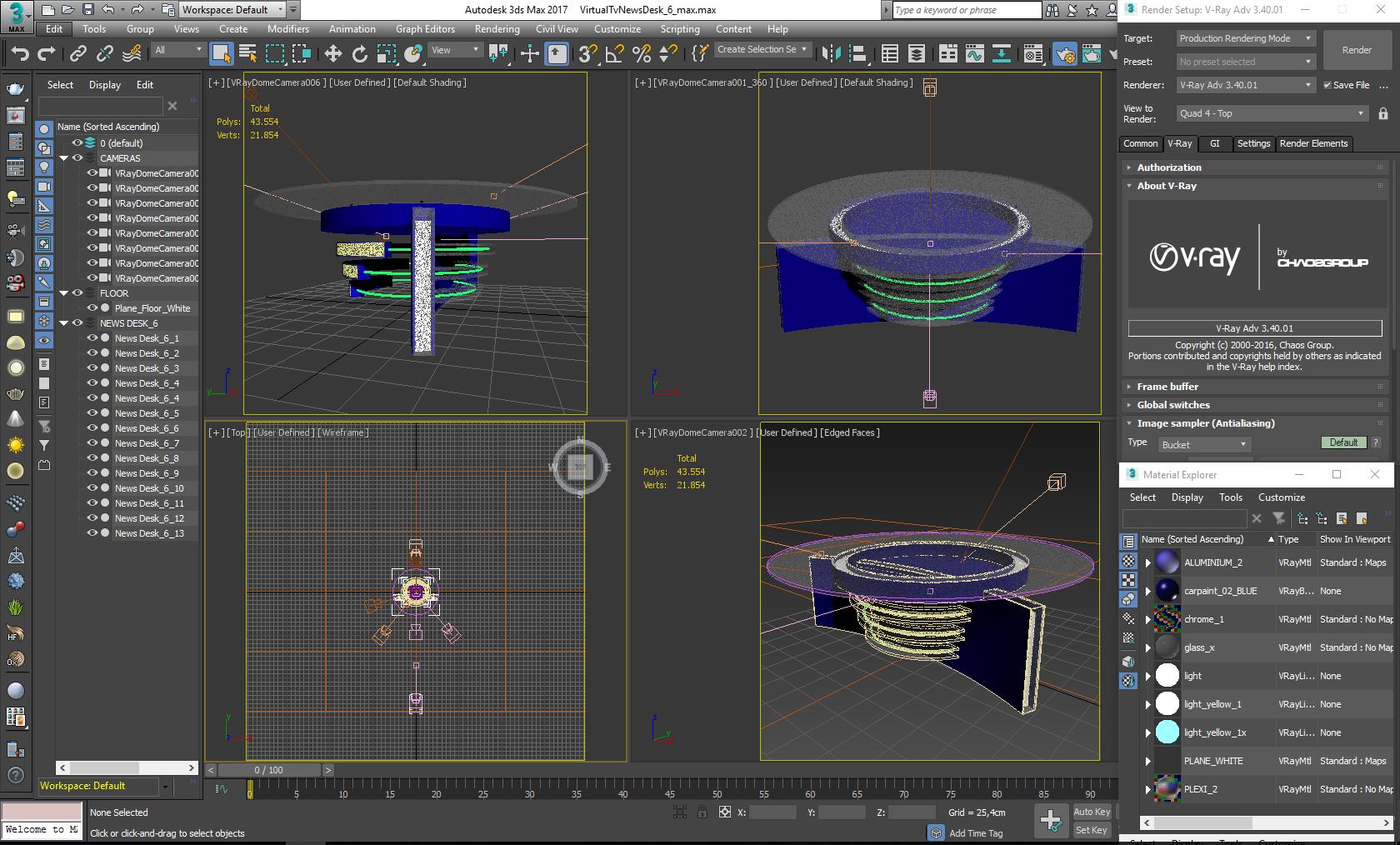 virtual tv studio news desk 6 3d model 3ds max dxf fbx  obj 223490