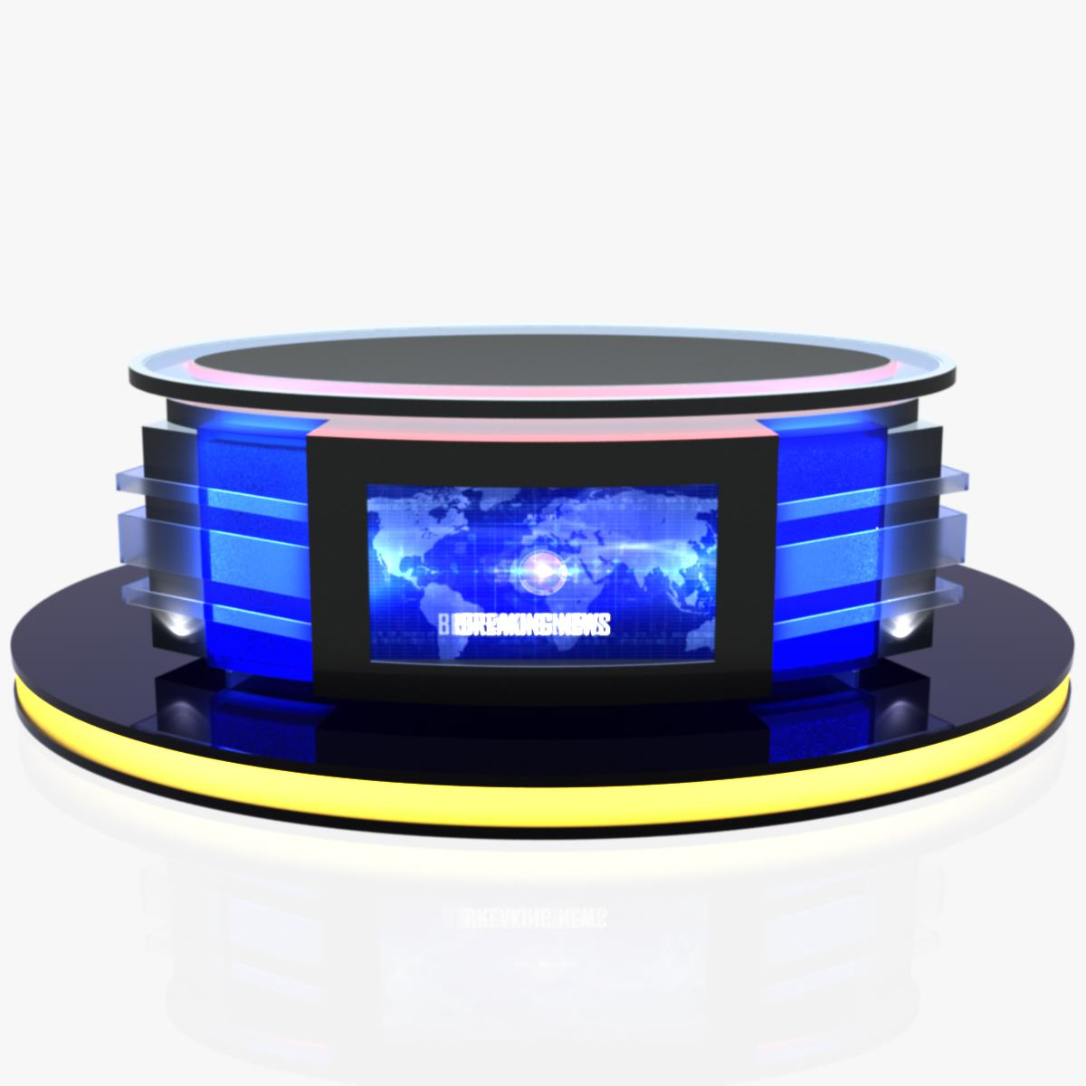 virtual tv studio news desk 12 3d model 3ds max dxf fbx dae  obj 223551