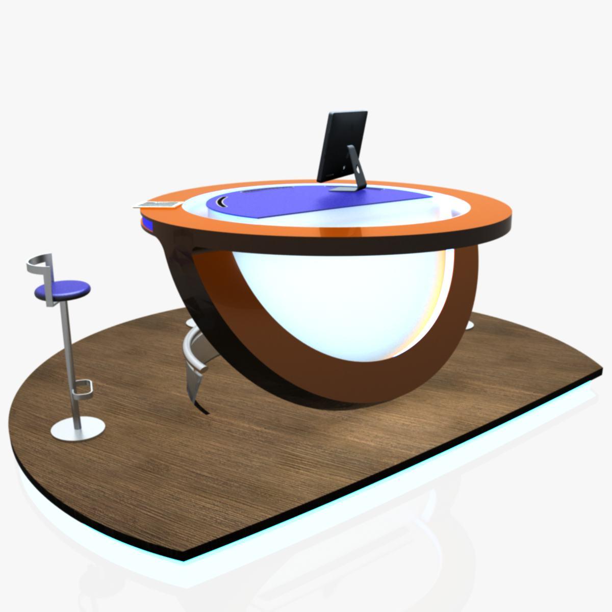 Virtual Tv Studio News Podium Desk Chair Imac27 Ip 3d model max dxf fbx obj 223577