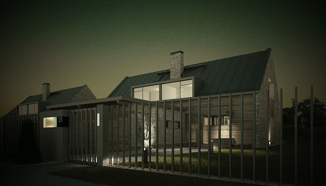 Vray Night and Day Twin House Scene and desig idea 3d model 0