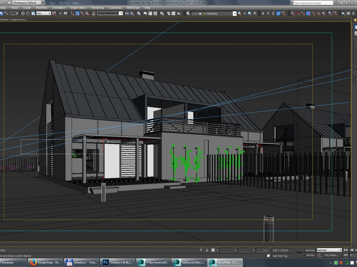 Vray Night and Day Twin House Scene and desig idea 3d model 3ds max dwg fbx c4d dae   obj