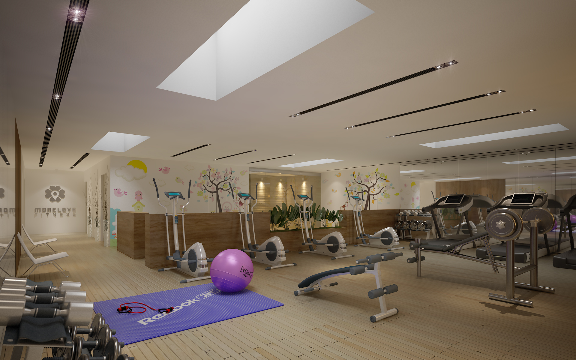 gym fitness interior design idea with kids area 3d model 3ds max dwg fbx c4d obj other 223682