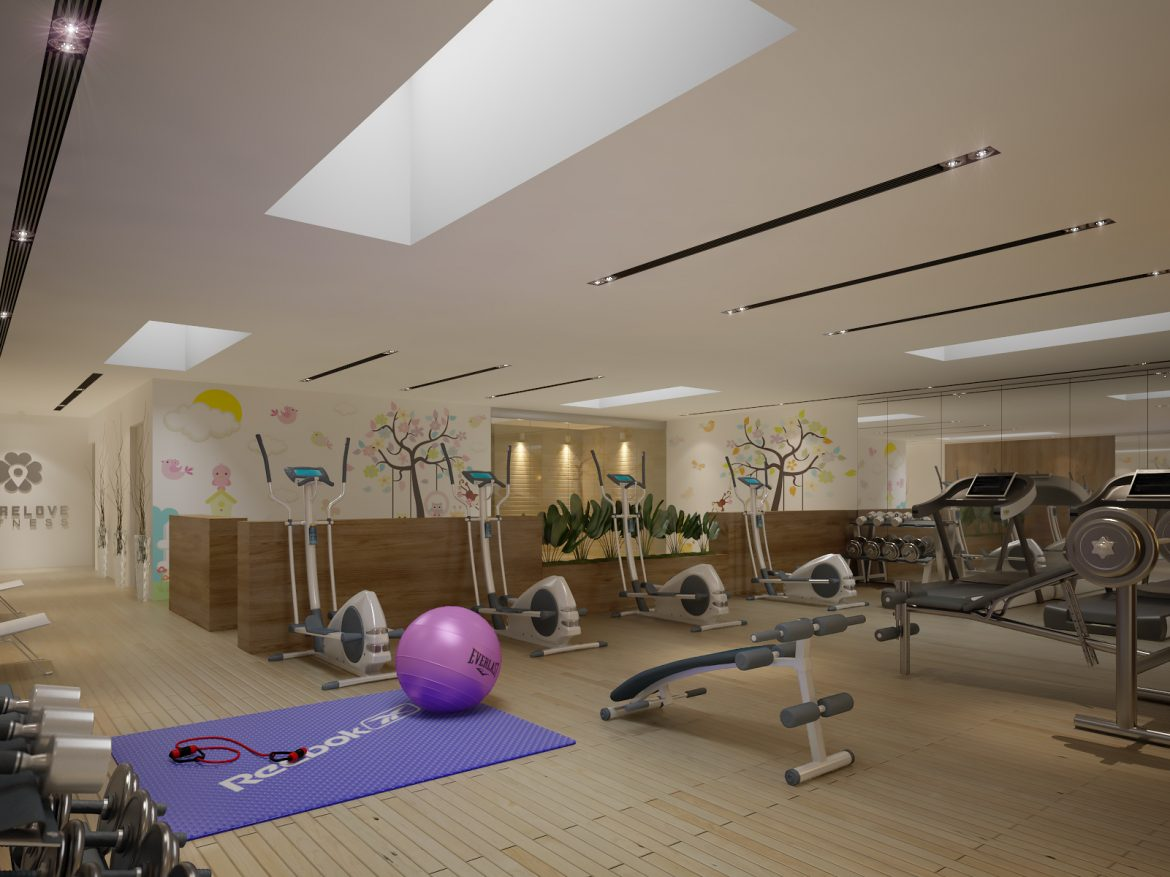Gym Fitness interior design idea with Kids Area 3d model 3ds max dwg fbx c4d  obj