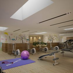 Gym Fitness interior design idea with Kids Area 3d model 0