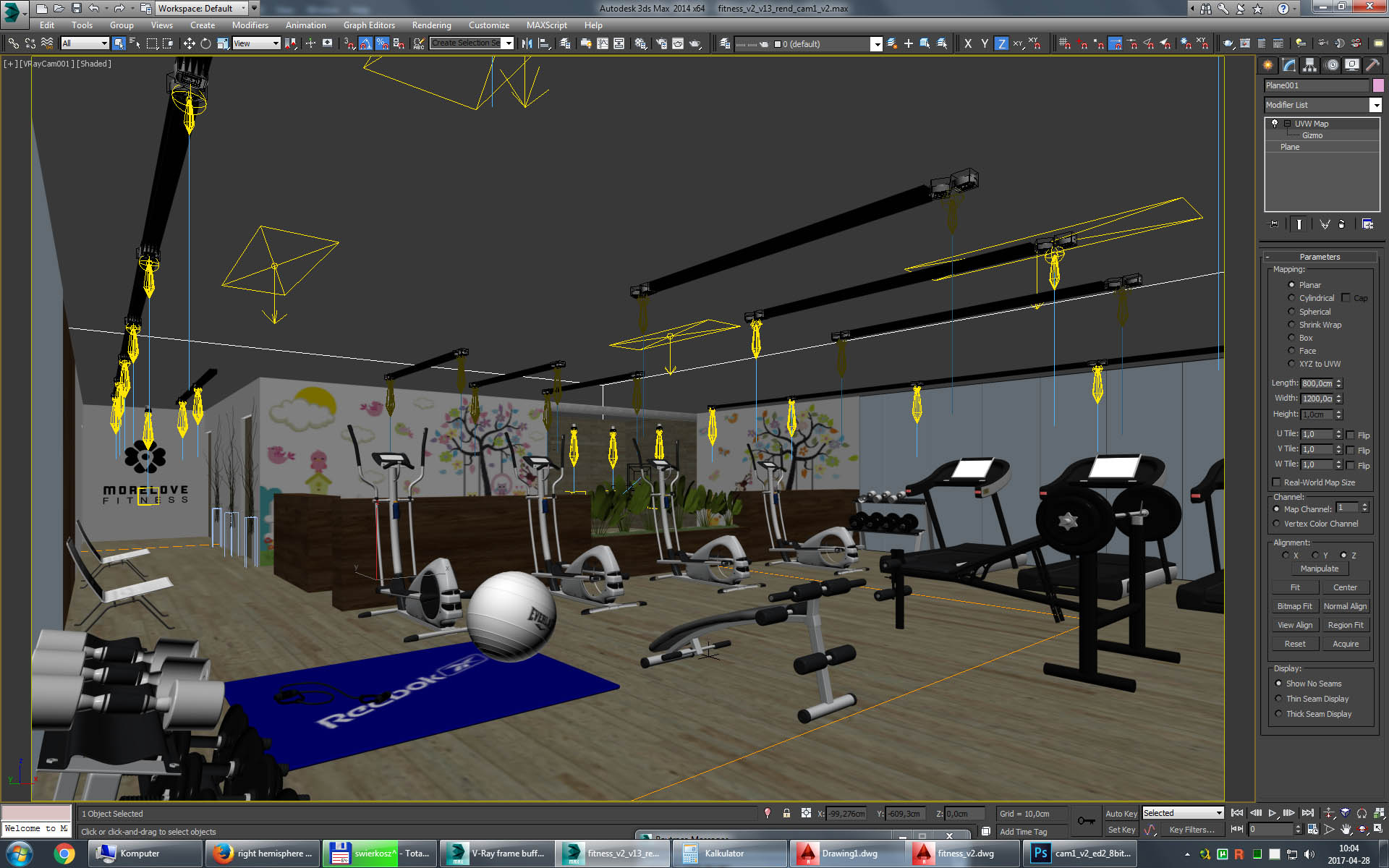 gym fitness interior design idea with kids area 3d model 3ds max dwg fbx c4d obj other 223683