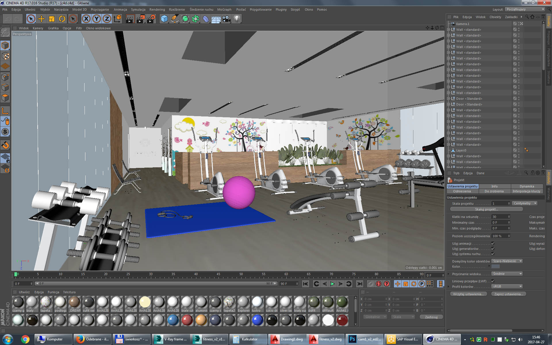 Gym fitness interior design idea with kids area 3d model for Gym design software