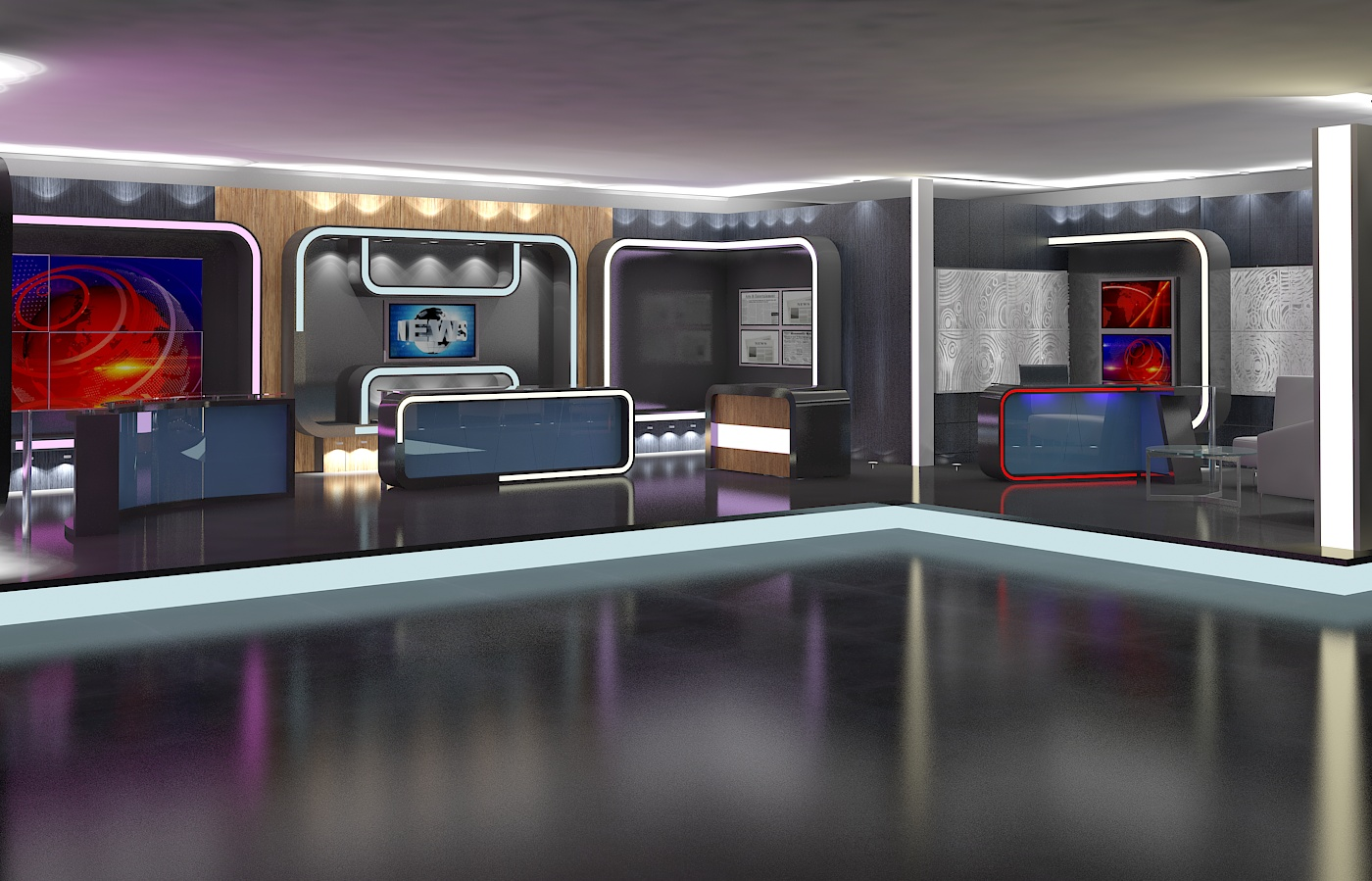 virtual tv studio news set 16 3d model 3ds max dxf fbx obj 223688