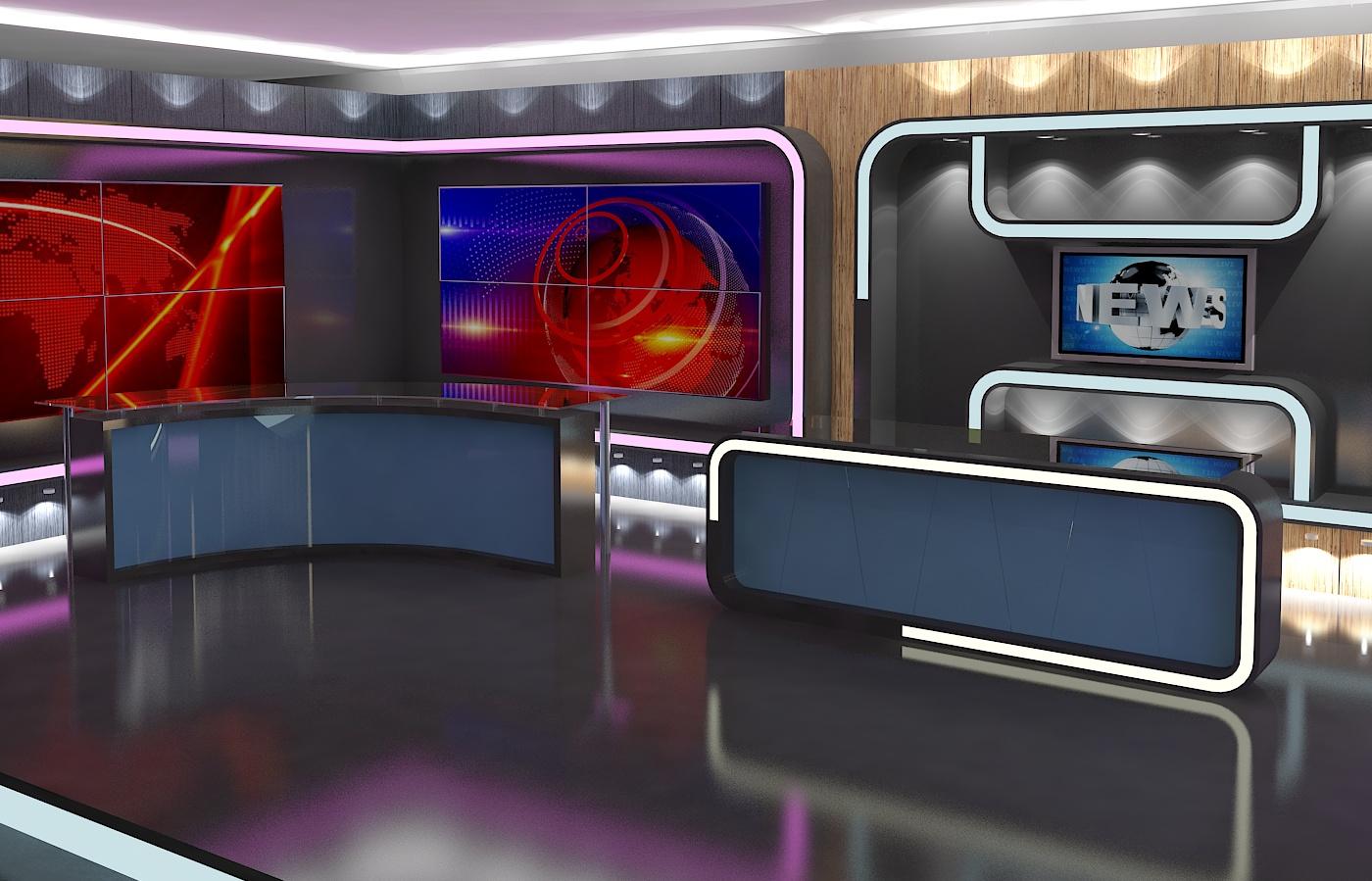 virtual tv studio news set 16 3d model 3ds max dxf fbx obj 223690