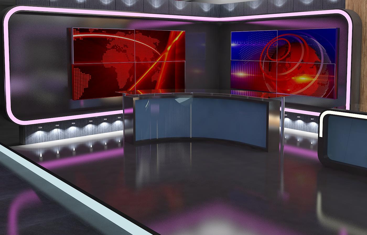 virtual tv studio news set 16 3d model 3ds max dxf fbx obj 223691