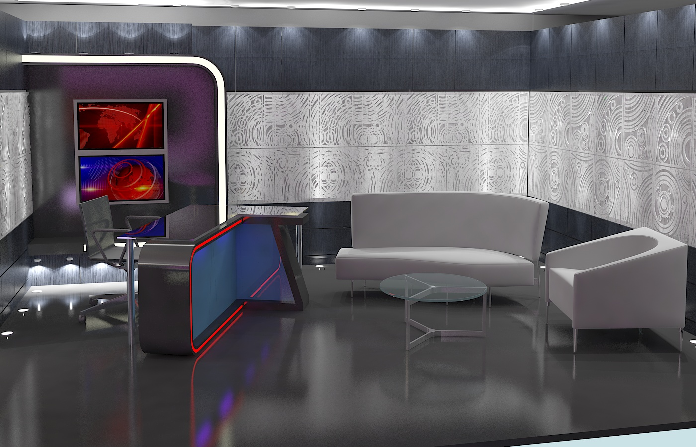 virtual tv studio news set 16 3d model 3ds max dxf fbx obj 223692