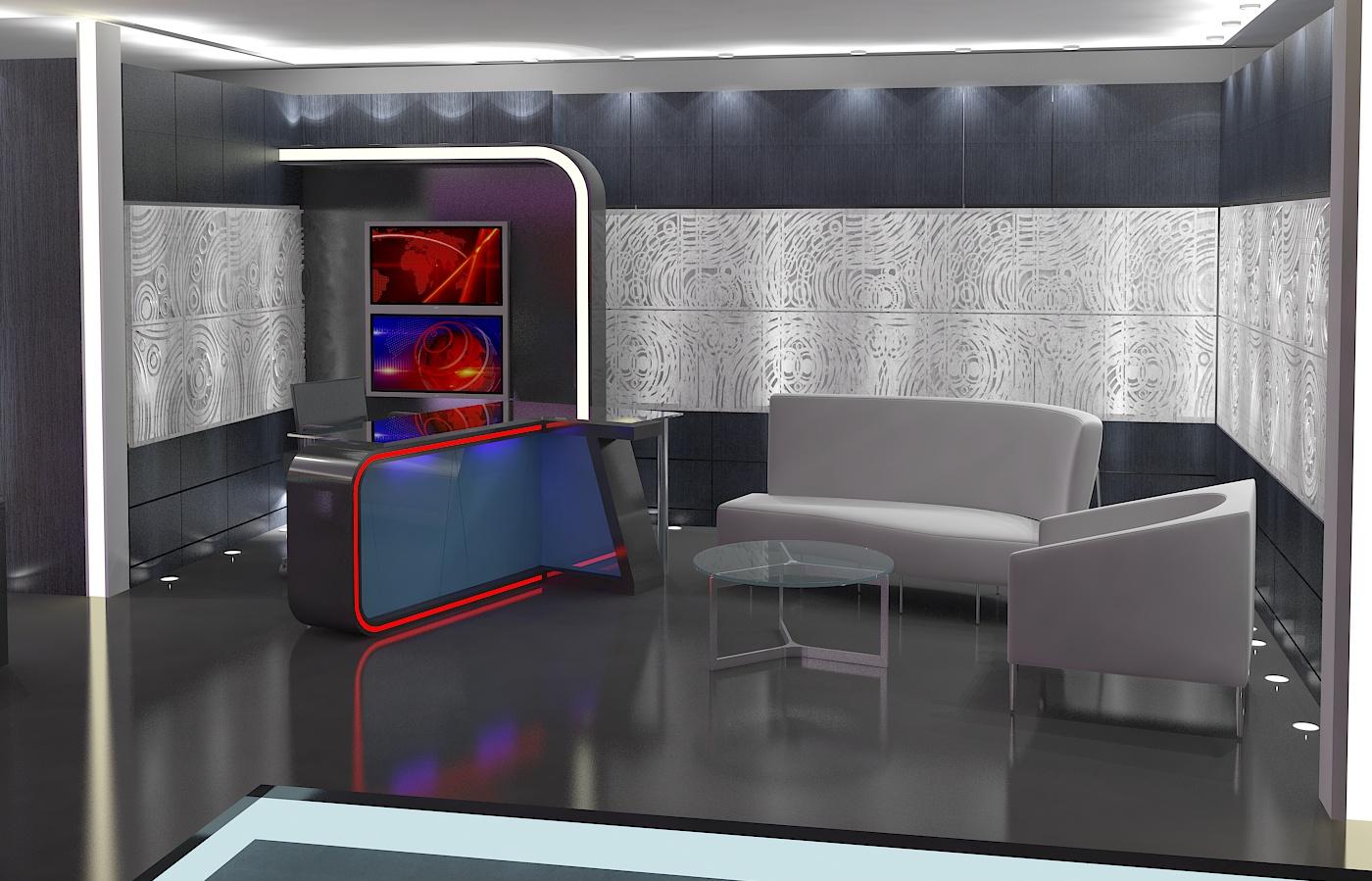 virtual tv studio news set 16 3d model 3ds max dxf fbx obj 223693