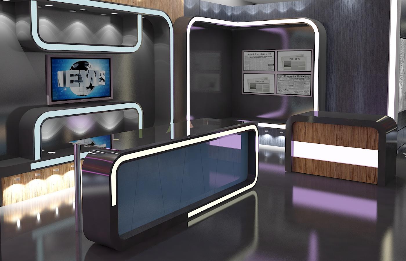 3d Virtual TV Studio News Set 16 3d Model Architecture 3D Models