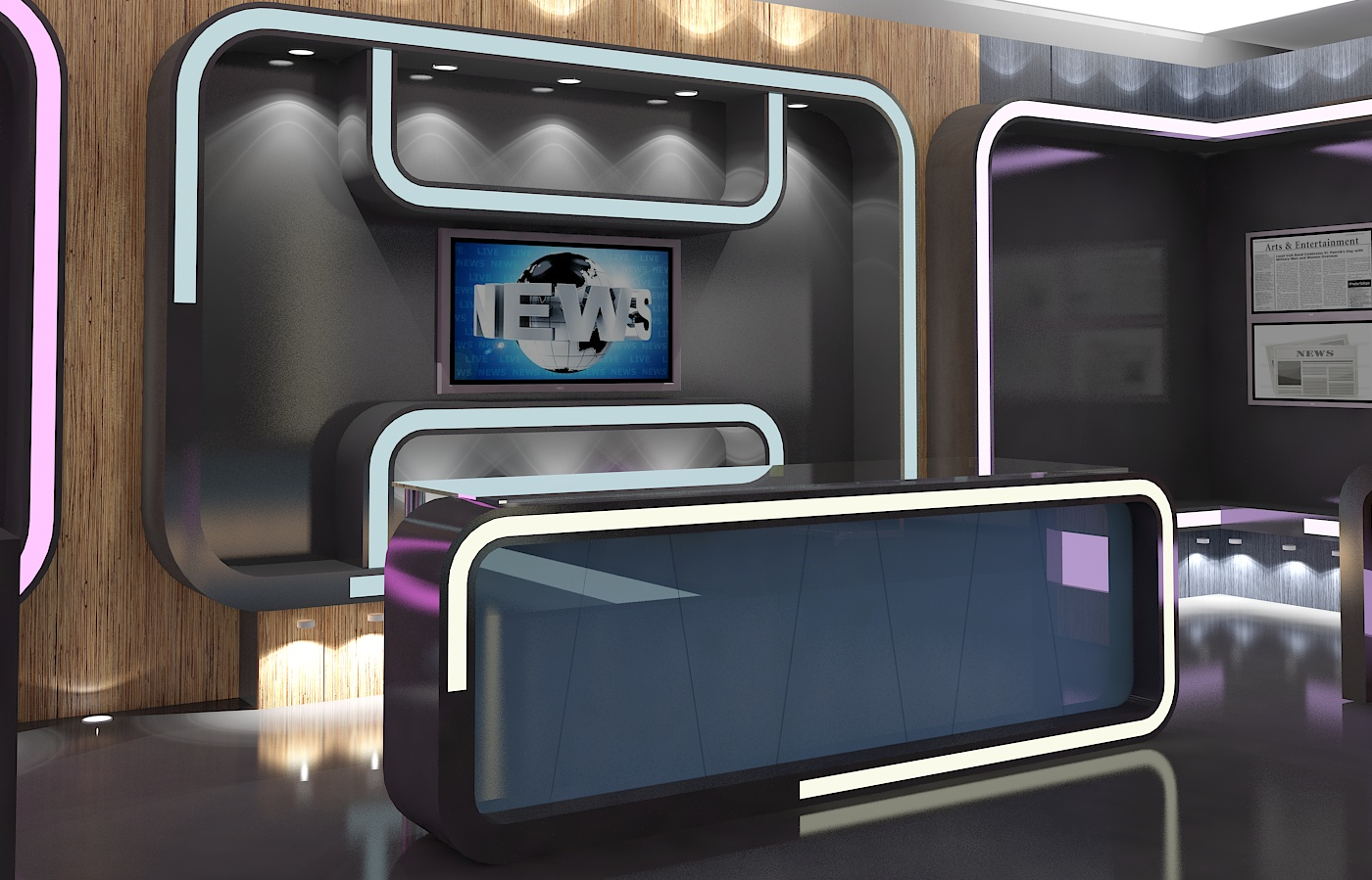 virtual tv studio news set 16 3d model 3ds max dxf fbx obj 223695