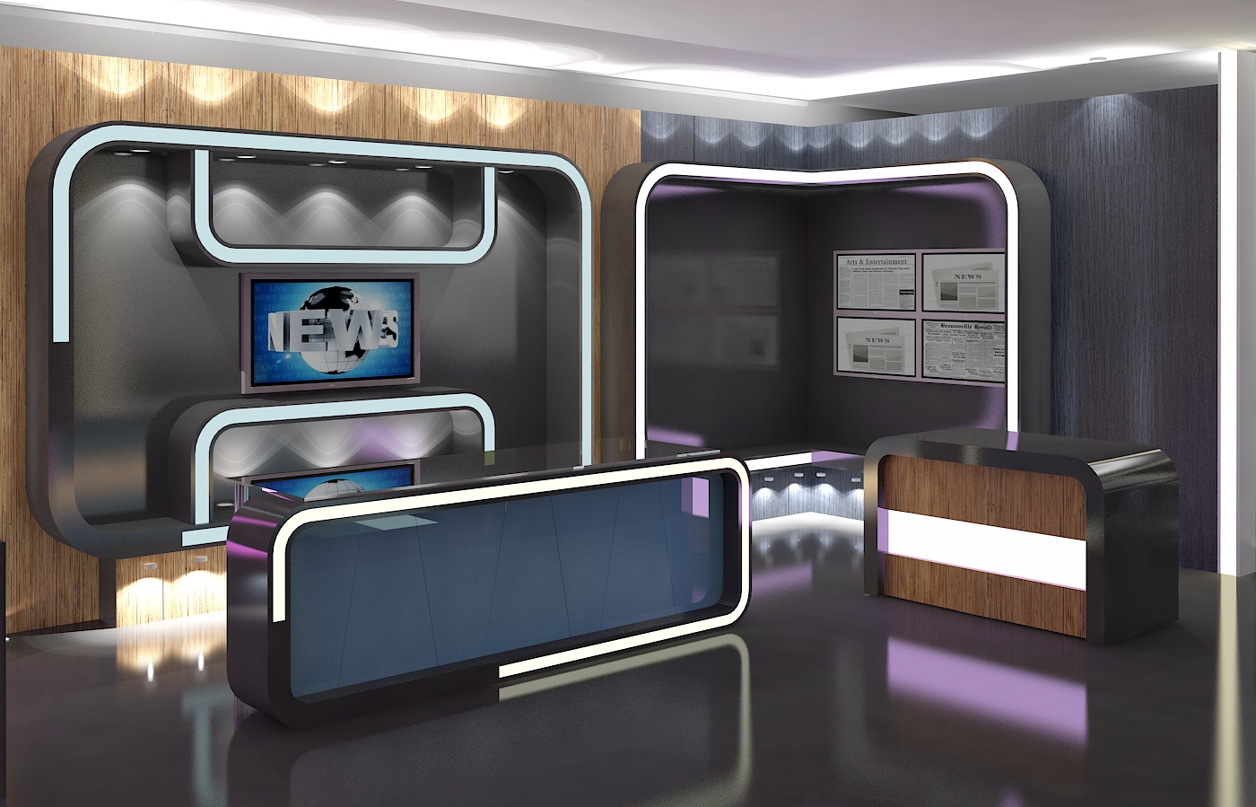 3d Virtual Tv Studio News Set 16 3d Model Buy 3d Virtual