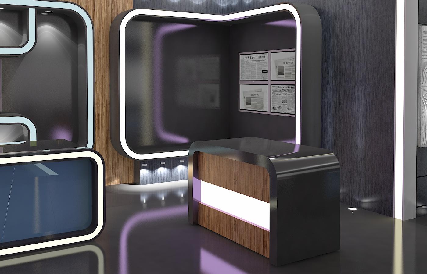 virtual tv studio news set 16 3d model 3ds max dxf fbx obj 223697