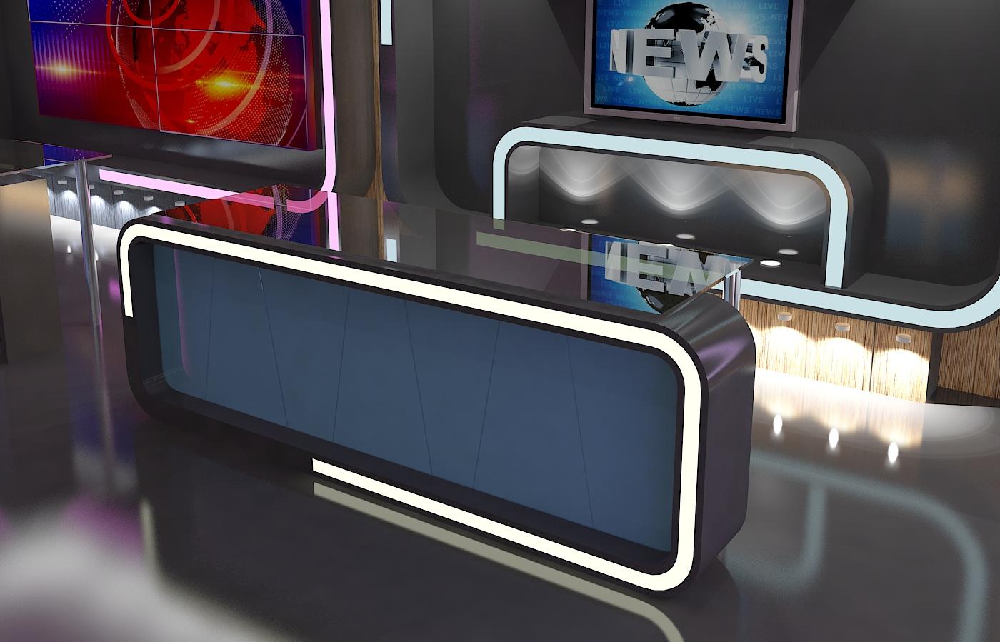 virtual tv studio news set 16 3d model 3ds max dxf fbx obj 223698