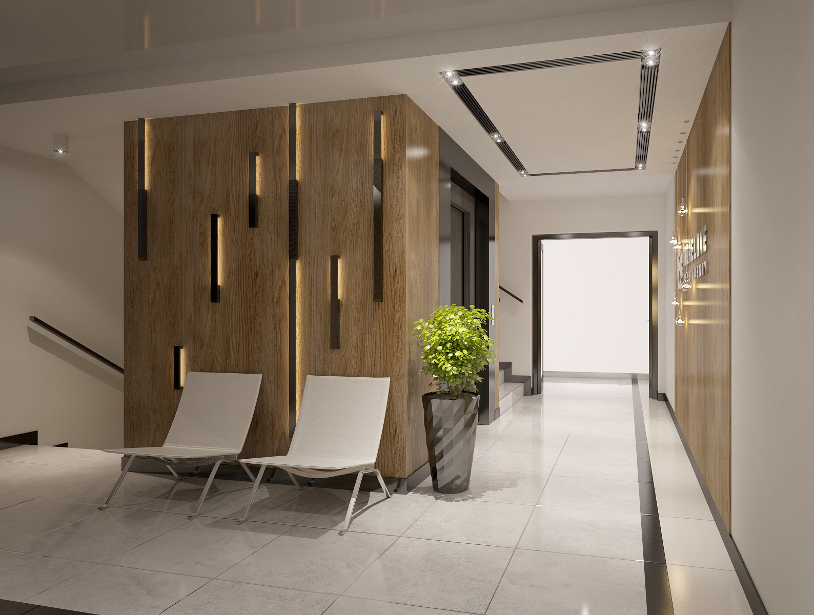 interior design of apartments building entrance ha 3d