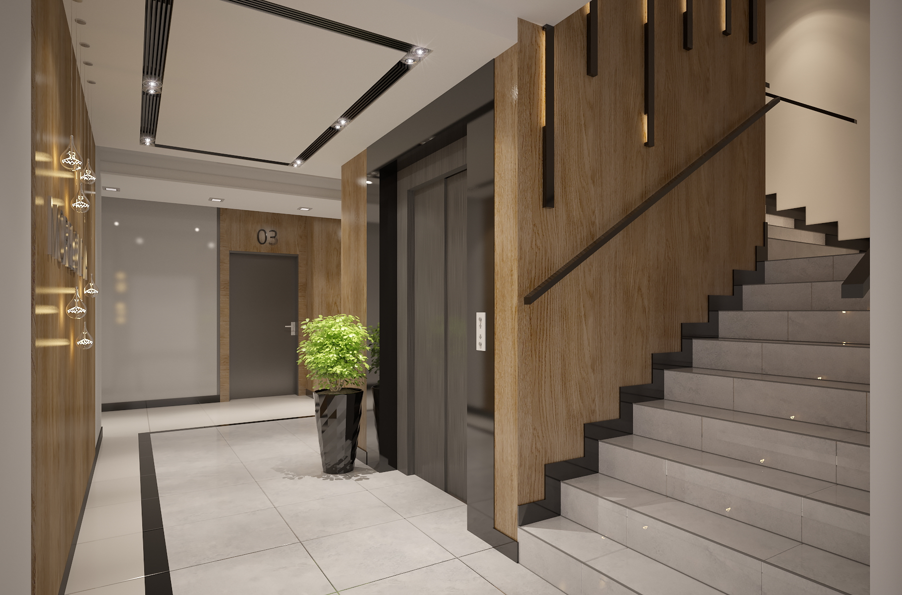 Interior design of apartments building entrance ha 3d for Architecture interieur design
