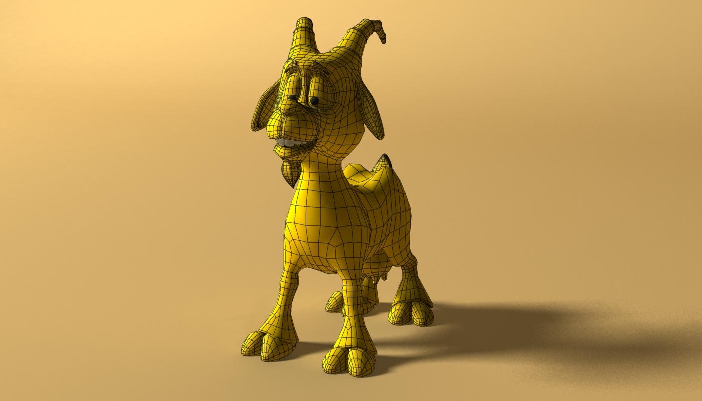 cartoon goat rigged 3d model 3ds max fbx  obj 223720