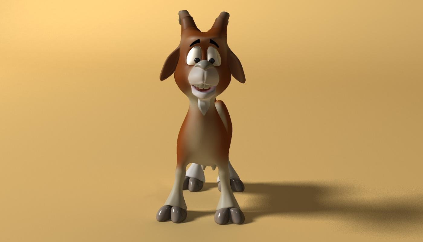 cartoon goat rigged 3d model 3ds max fbx  obj 223721