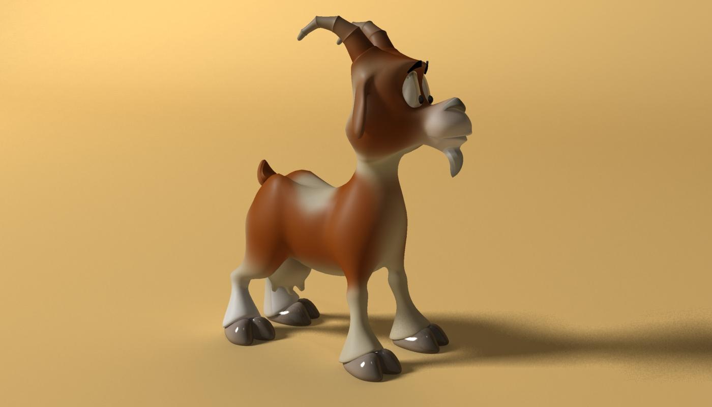 cartoon goat rigged 3d model 3ds max fbx  obj 223723