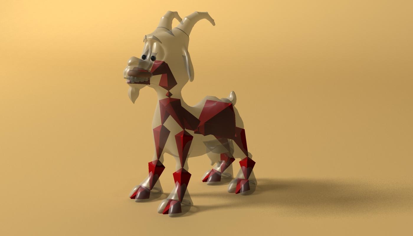 cartoon goat rigged 3d model 3ds max fbx  obj 223725