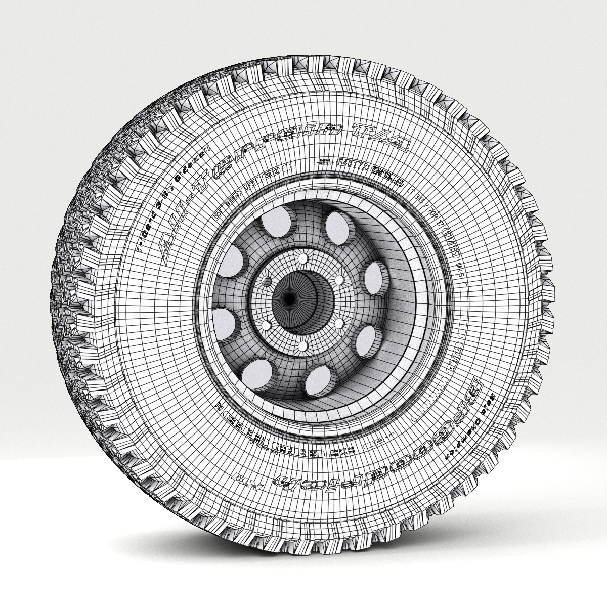 off road wheel and tire 3d model 3ds max fbx obj 224397