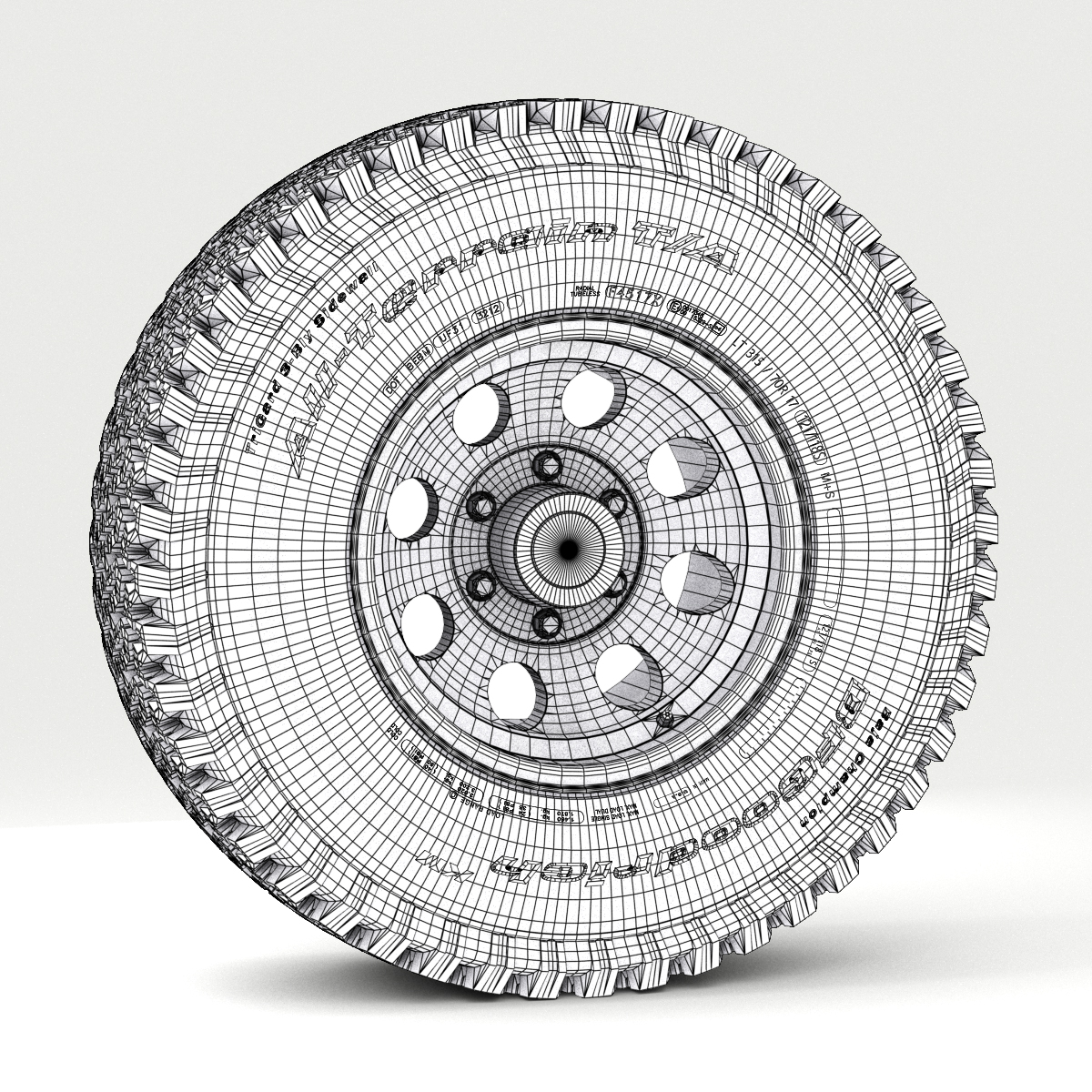 off road wheel and tire 3d model 3ds max fbx obj 224399