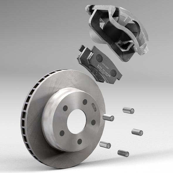 car disc brake 3d model 3ds max fbx tga targa icb vda vst pix obj 224404