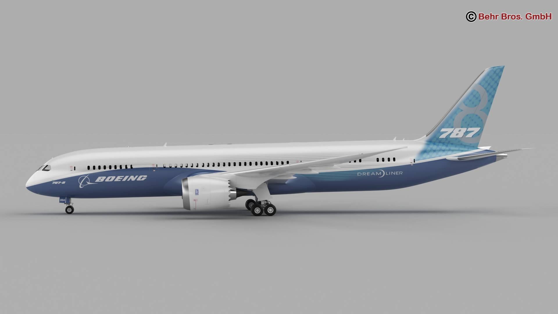 Boeing 787-8 3d gerð 3ds max fbx c4d lwo ma mb obj 251357