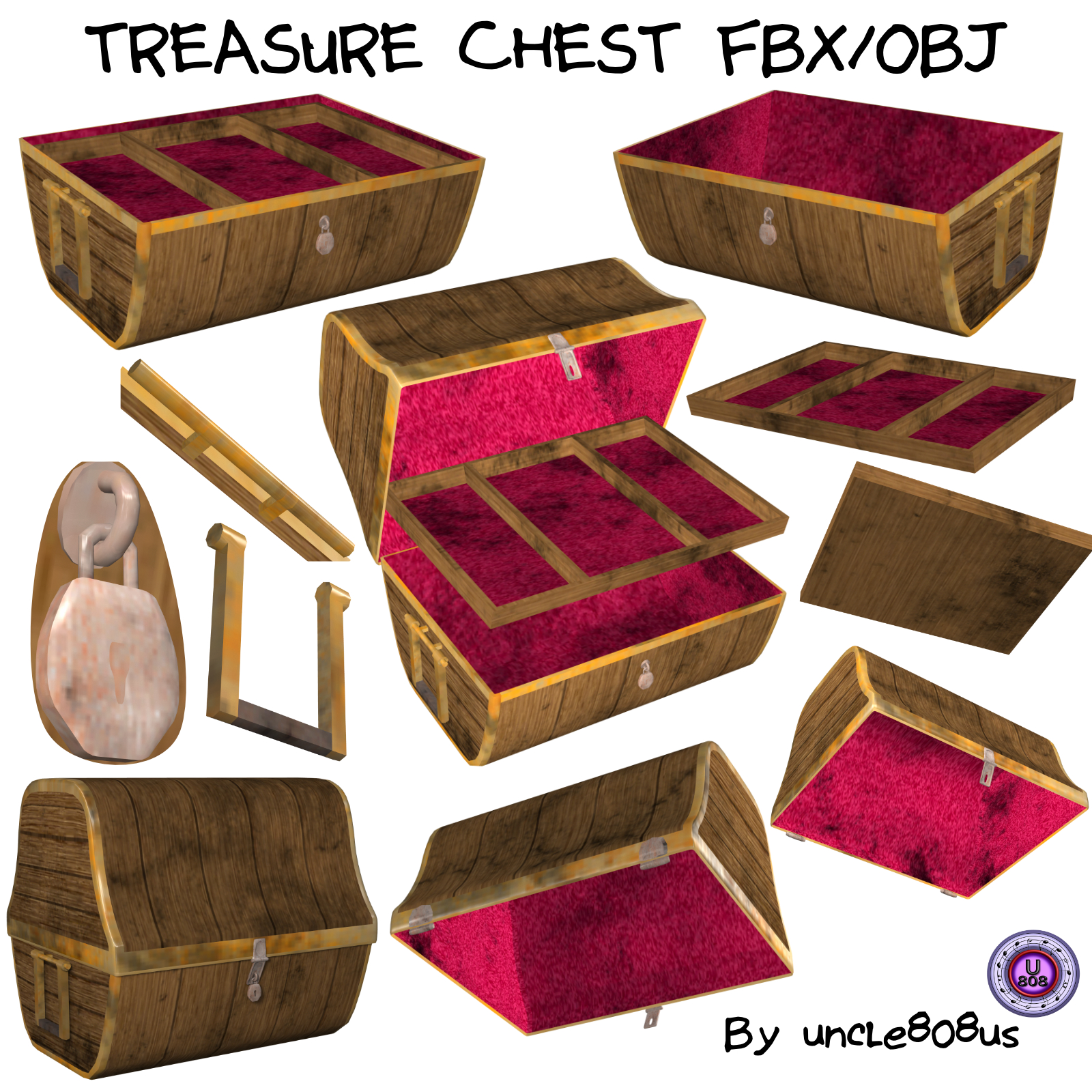 treasure chest fbx obj 3d model fbx 251380