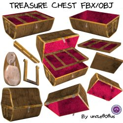 Treasure Chest FBX OBJ 3d model 0