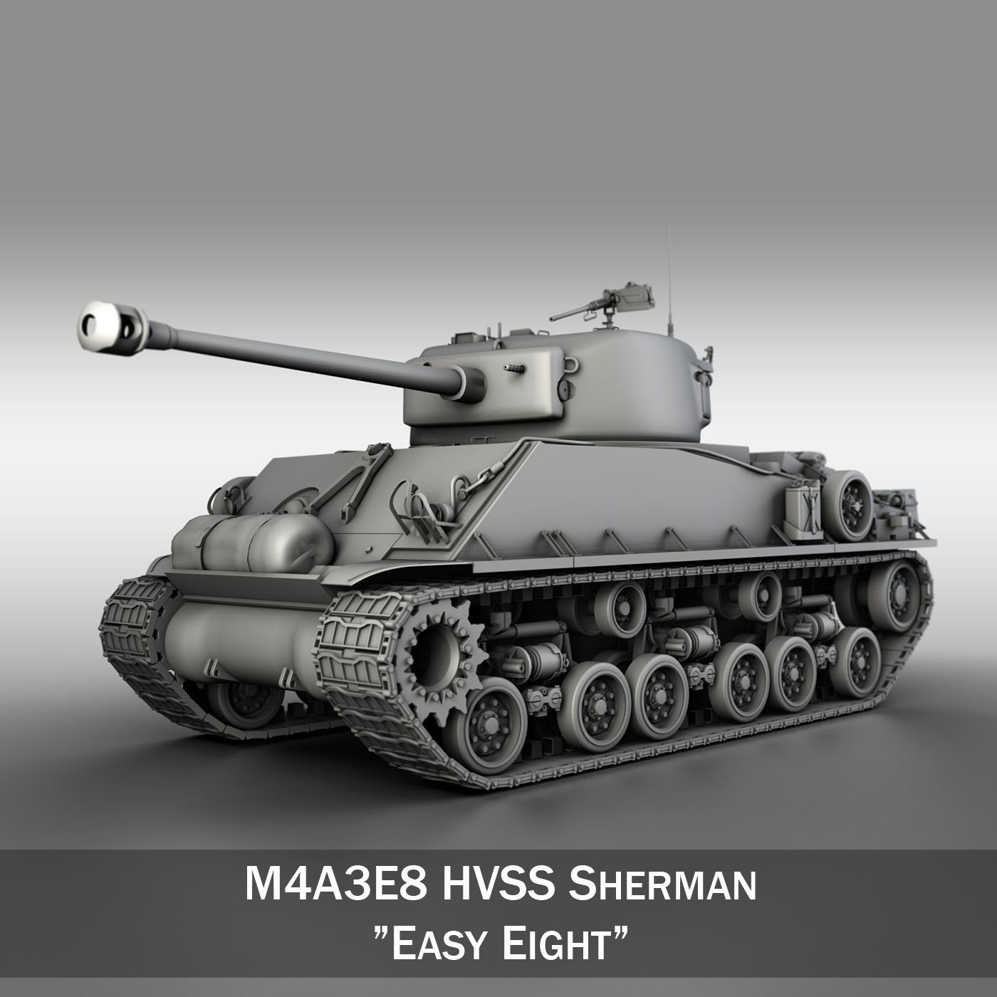 m4a3e8 sherman - хялбар найман 3d загвар 3ds fbx c4d lwo obj 251564