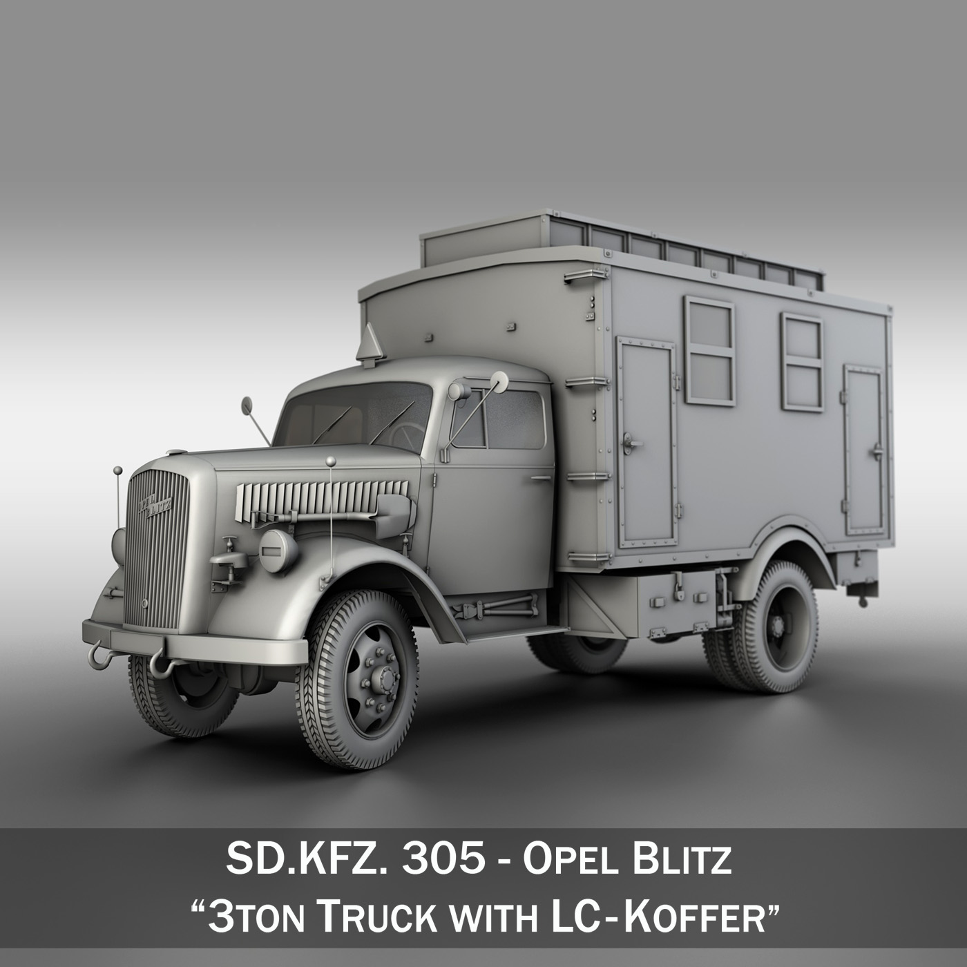 opel blitz – 3t truck with ec koffer 3d model 3ds fbx c4d lwo obj 251575