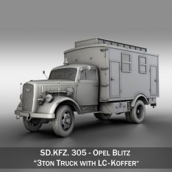 Opel Blitz - 3t  Truck with EC Koffer 3d model 0