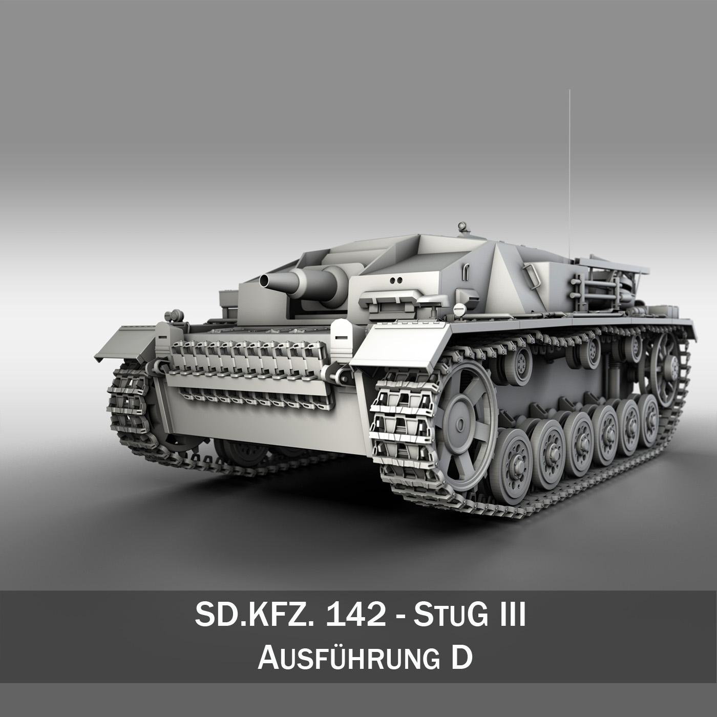 sdkfz. 142 - stug 3 - ausf.d 3d загвар 3ds fbx c4d lwo obj 251608